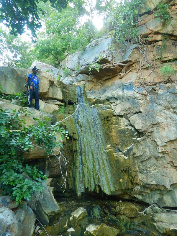Vijay on top of a dry fall in Veerana Canyon