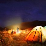 tent camping in a ranch 14 with bonfire