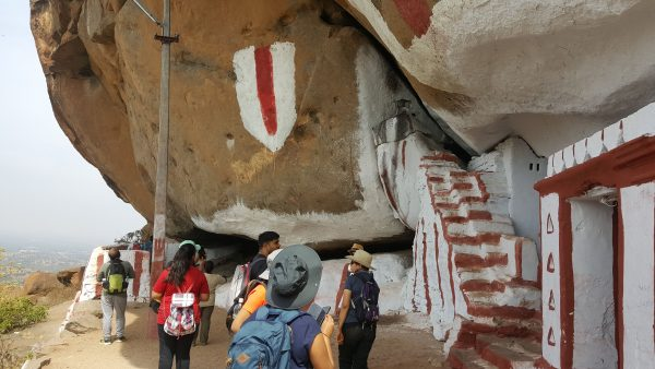 A mini cave temple midway of the trek to Rayakottai Hills