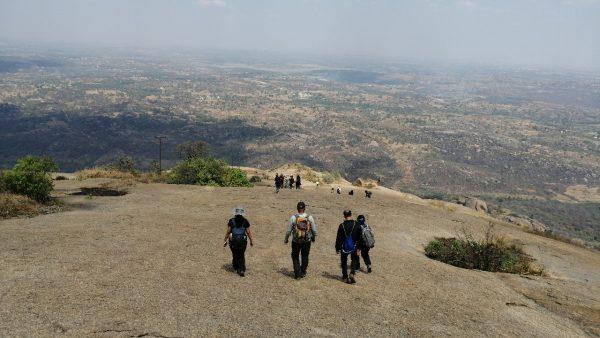 Hike back from the summit of Savandurga trek