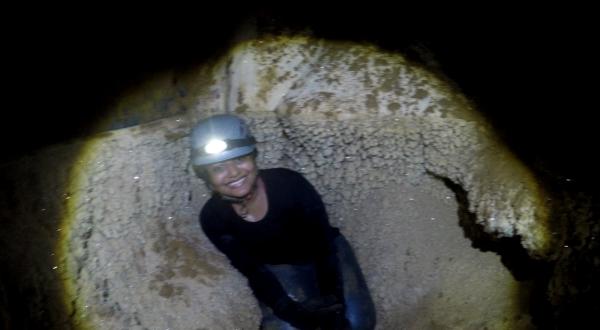 Himaja of Team Mayavi near sparkling minerals