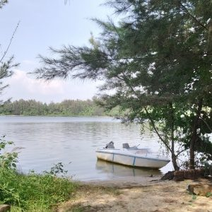 Boat parked at landing site - survival island