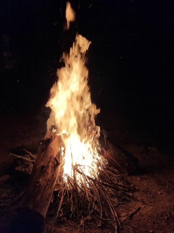 bonfire at priyadarshini tent camping