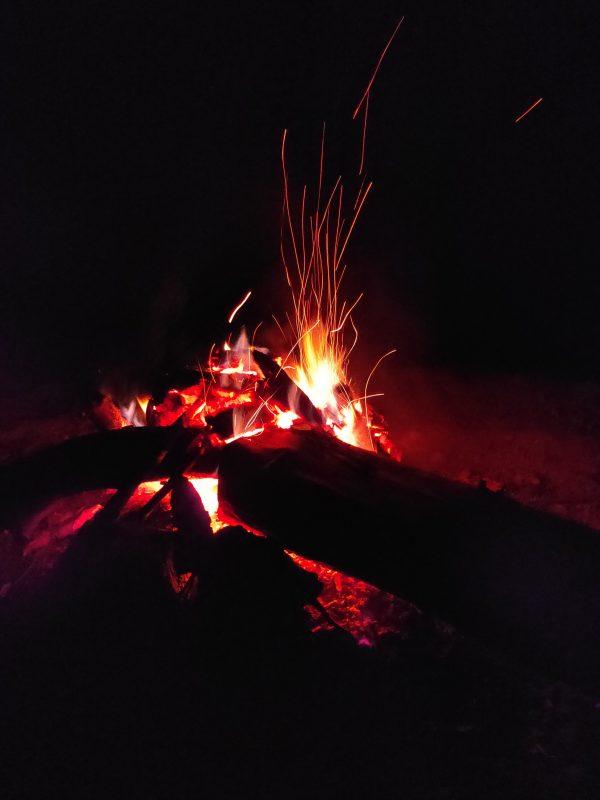 campfire at priyadarshini tent camping