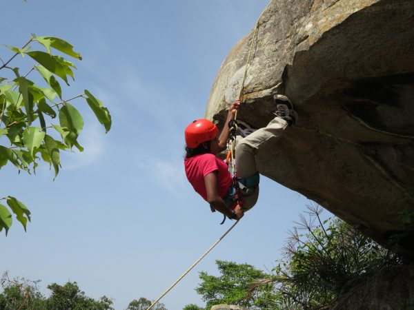 Aathira transitioning into an overhang rappel- 03